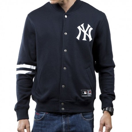 MAJESTIC EMODIN FLEECE LETTERMAN YANKEES JACKET